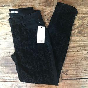 NEW TOBI black velvet print jeans size 27
